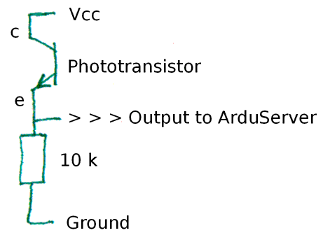 Schematic of phototransistor connection